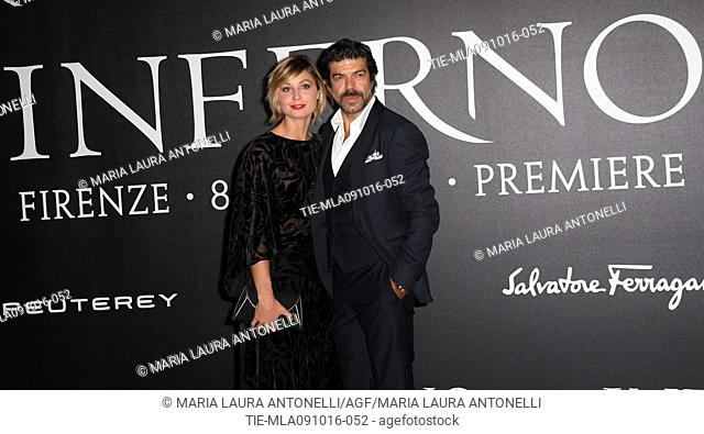 The actor Pierfrancesco Favino with wife Anna Ferzetti during the red carpet of film Inferno, Florence, ITALY-08-10-2016