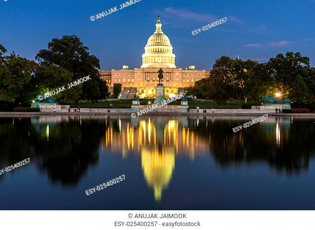 This photo was shot from the US Capital building in Washington DC, USA in the evening after sunset