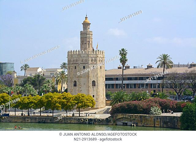 Torre del Oro on the River Guadalquivir. Seville, Andalucia, Spain, Europe