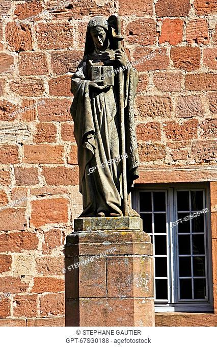 SAINT ODILE, ODILE 'PATRON SAINT OF ALSACE' WITH HER ABBESS' CROSS, ABBEY OF MONT SAINT ODILE, STRASBOURG, BAS-RHIN 67, ALSACE, FRANCE