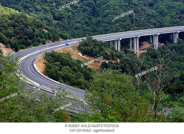 Girona province, La Selva, Catalunya, Spain. C-25 Eix Transversal. After leaving the Viaducte the Riudecos near Arbucies