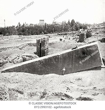 One of the huge stones found in the Temple of the Sun, Baalbeck, Syria. From The Wonders of the World, published c. 1920