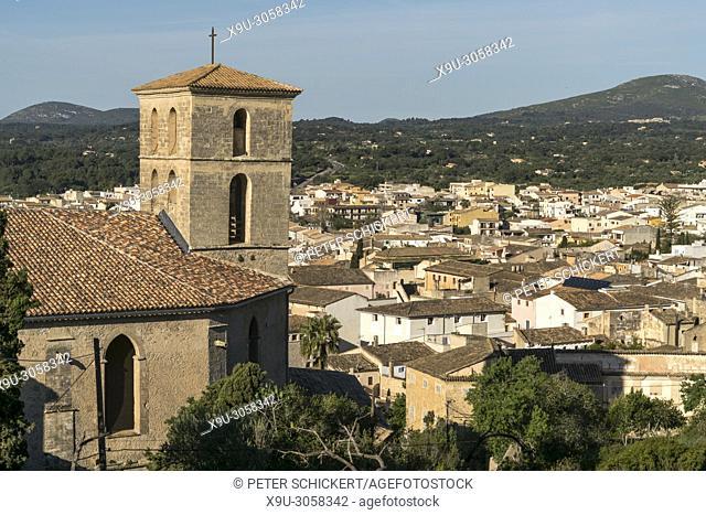 city view with Parish church of Transfiguracio del Senyor, Arta, Majorca, Balearic Islands, Spain