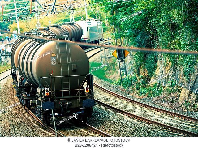 Freight Train. Railroad track. Donostia. San Sebastian. Gipuzkoa. Basque Country. Spain