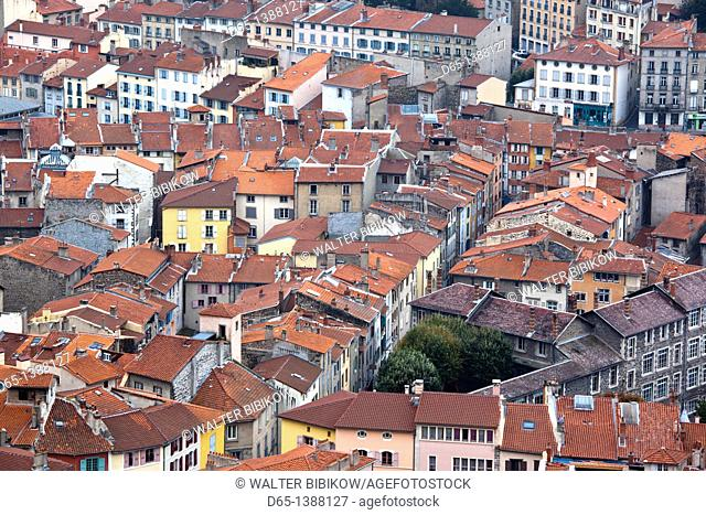 France, Haute-Loire Department, Auvergne Region, Le Puy-en-Velay, town overview from Rocher Corneille
