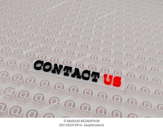 White 3d Contact us Text on Platform Inside 3d At Sign symbols