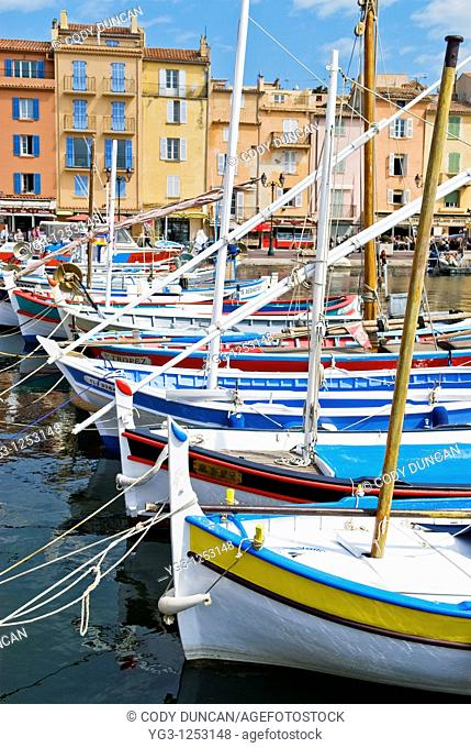 Colorful sailboats in the harbor of St  Tropez, France