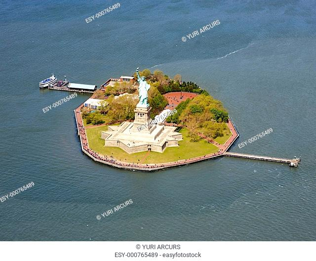 Beautiful aerial view of Liberty Island and Statue of Liberty