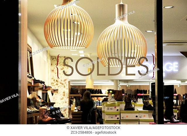 Showcase downtown for winter sales. Grenoble, Isere, Rhone Alpes. Grenoble, FRANCE