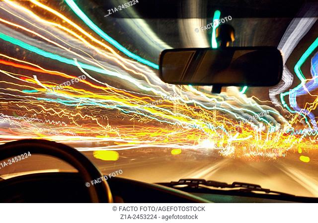 Car driving with distorted visual perception
