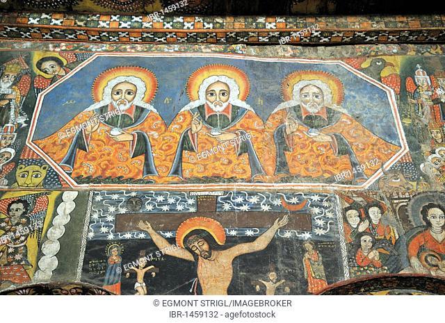 Famous wallpaintings, murals in the Debre Berhan Salassie Church, UNESCO World Heritage Site, Gonder, Gondar, Amhara, Ethiopia, Africa