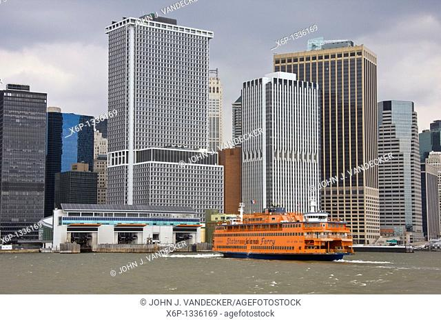 Staten Island Ferry approaching dock in lower Manhattan, New York City