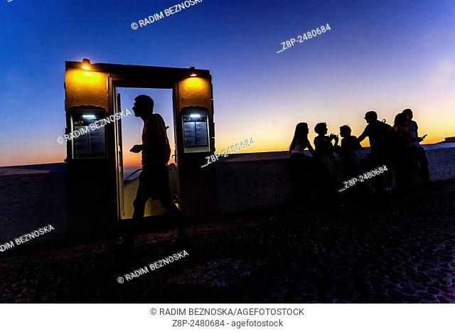 Entry to the bar, Sunset, Fira, Santorini, Cyclades, Greek Island, Greece, EU, Europe