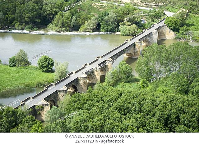 San Vicente de la Sonsierra in La Rioja Spain. Bridge over Ebro river