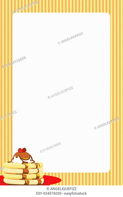 Bright border featuring a pancake stack with syrup. Can be used as a background for a menu or break/brunch invitation