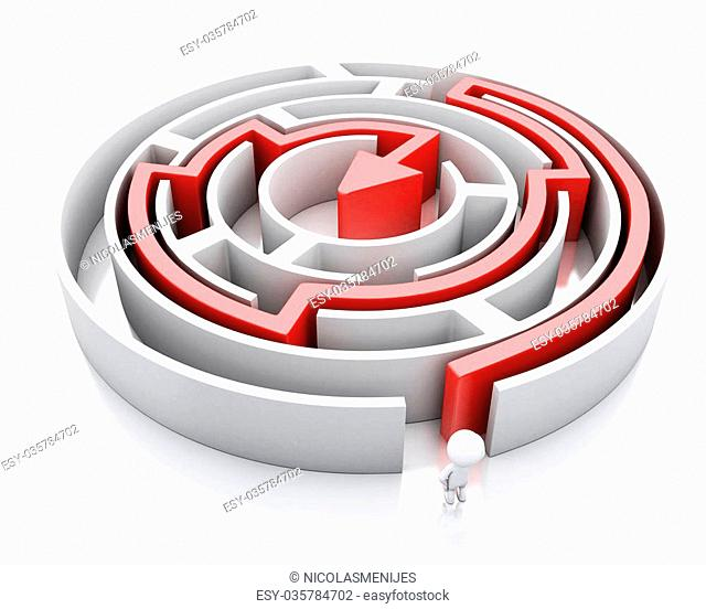 3d renderer image. White people and a maze with red arrow marking the route. Success challenge. Isolated white background