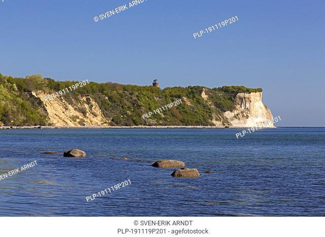 White sea cliffs at Cape Arkona / Kap Arkona, Putgarten, Wittow peninsula on the island of Rügen in Mecklenburg-Vorpommern, Germany