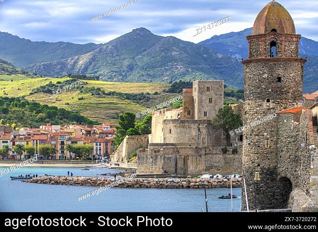 Notre-Dame-des-Anges church and landscape seaside beach of the picturesque village of Collioure, near Perpignan at south of France Languedoc-Roussillon Cote...
