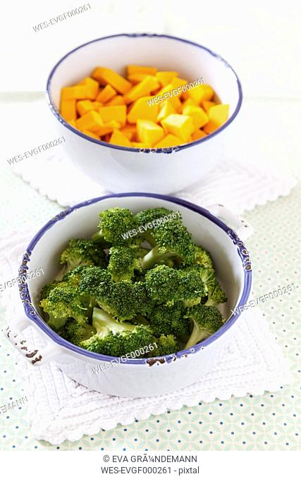 Hokkaido pumpkin and broccoli chopped in bowls