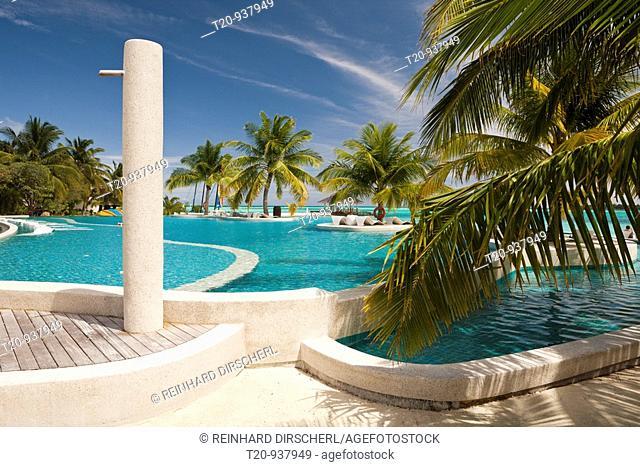 Swimming Pool of Maldive Island Kandooma, South Male Atoll, Maldives