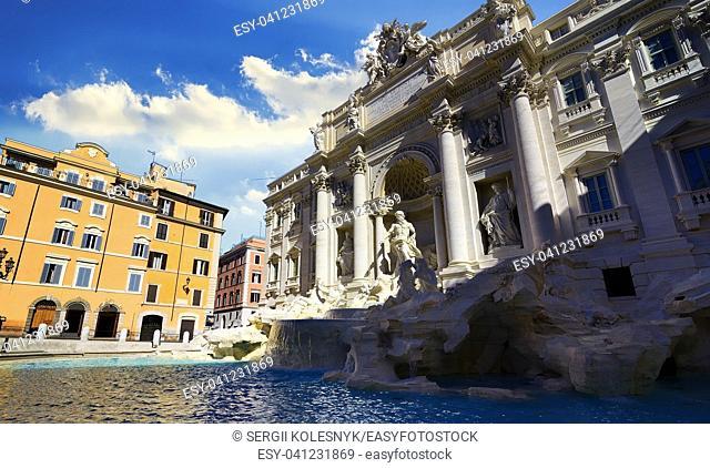 Roman Trevi Fountain in the morning, Italy