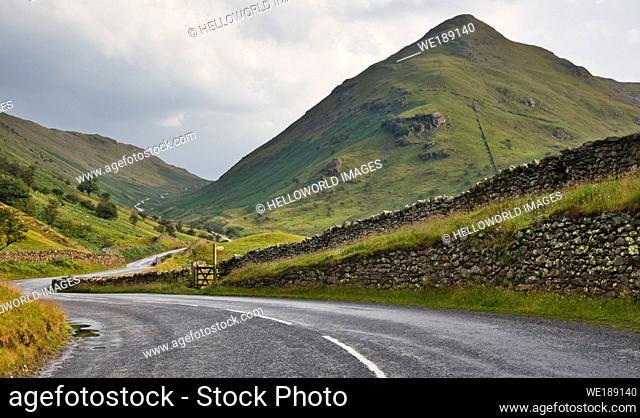 The Struggle, Kirkstone Pass, Lake District National Park, Cumbria, England. Road leading through the Kirkstone Pass known locally as The Struggle