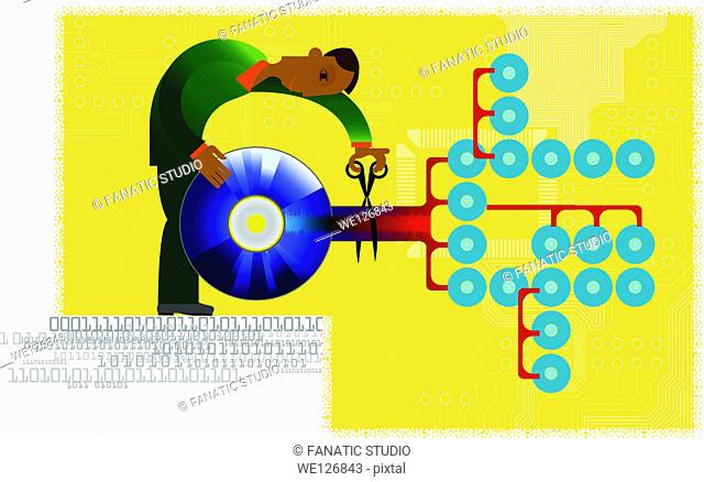 Conceptual image of a man trying to prevent software piracy