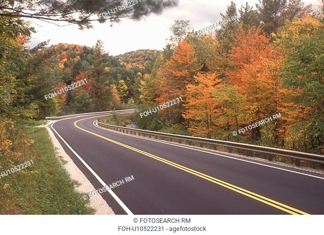 road, fall, Northfield, VT, Vermont, Route 12A winds through forest in autumn in Northfield
