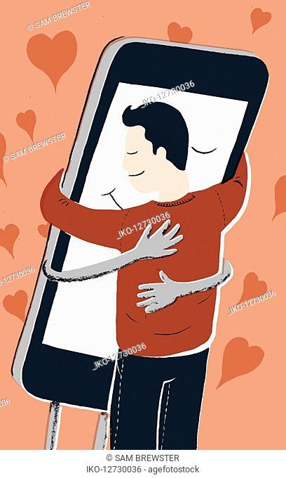 Man hugging smart phone