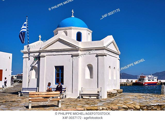 Greece, Cyclades, Mykonos island, Chora, Mykonos town, old port and Agios Nikolaos church