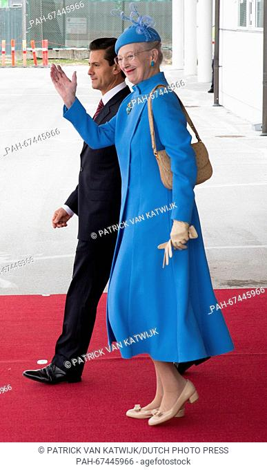Queen Margrethe and Prince Henrik welcome President Enrique Pena Nieto and his wife Angelica Rivera of Mexico at the Airport of Copenhagen, Denmark