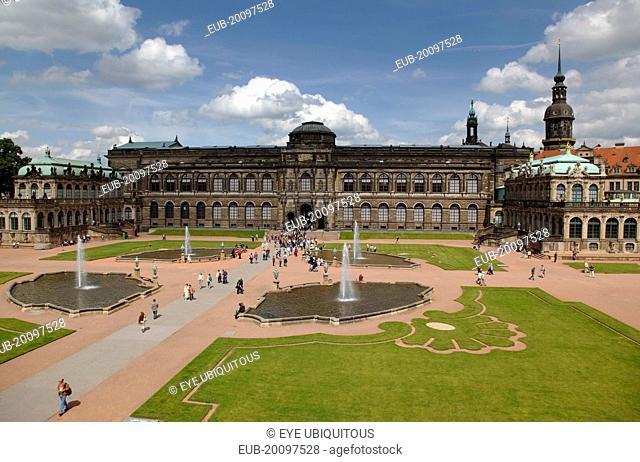 Zwinger Palace and ornamental gardens. Built 1710-1732 designed by Matthaus Daniel Poppelmann
