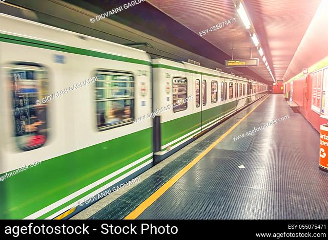MILAN, ITALY - SEPTEMBER 2015: Interior of city subway with fast moving train