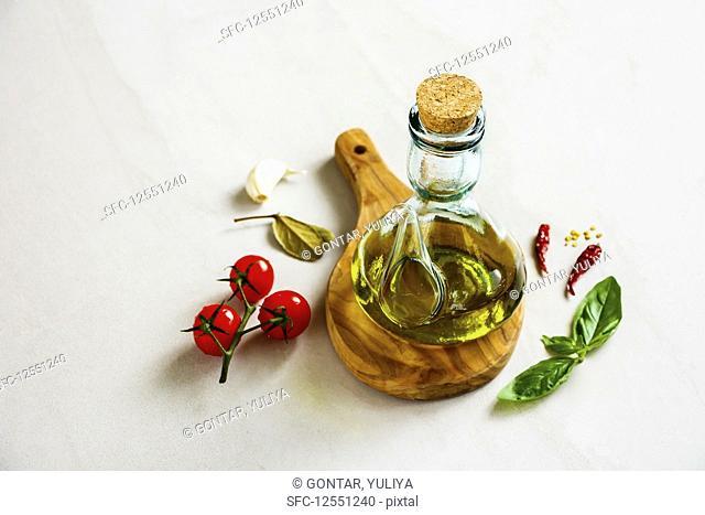Olive oil and healthy seasonal ingredients