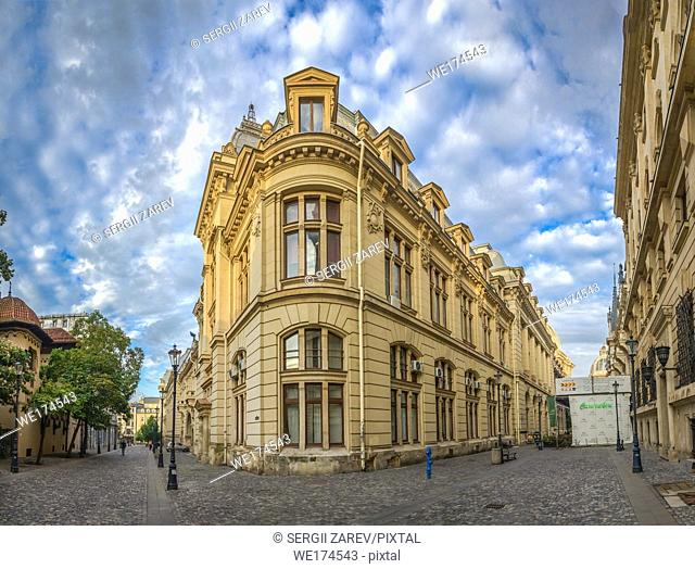 Old Center of Bucharest, Romania in a cloudy summer morning
