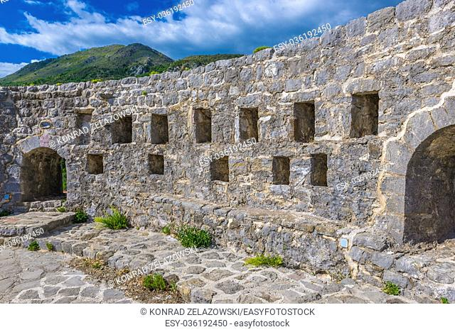 Defensive walls of fortress in Stari Bar (Old Bar) - small town near Bar city, part of Bar Municipality in southern Montenegro