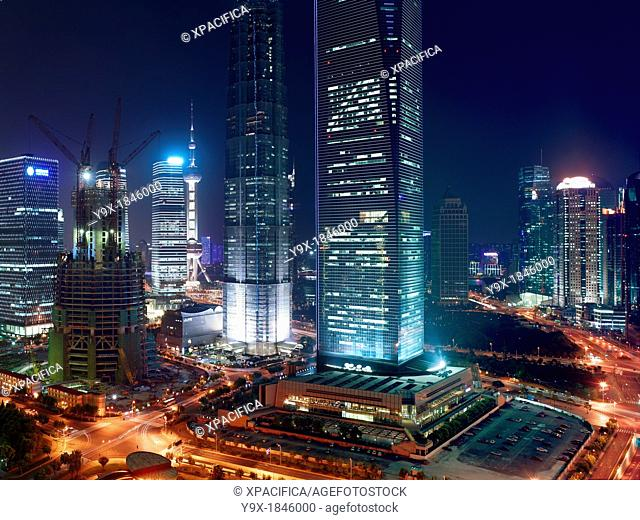 A view of the Jin Mao Tower and the Shanghai World Financial Center  These are the tallest buildings in Shanghai, China