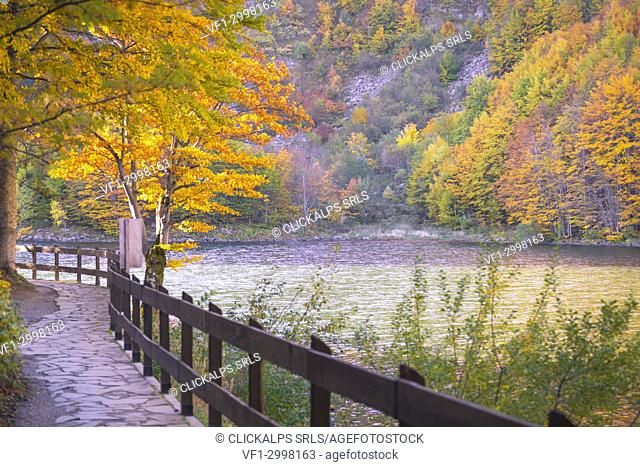 Autumnal colorful at Lago Santo, Pievepelago, Modena province, Italy