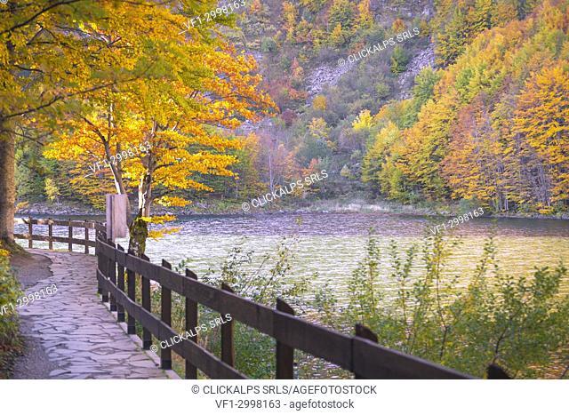 Autumnal colorful at Lago Santo, Pievepelago, Modena province, Italy