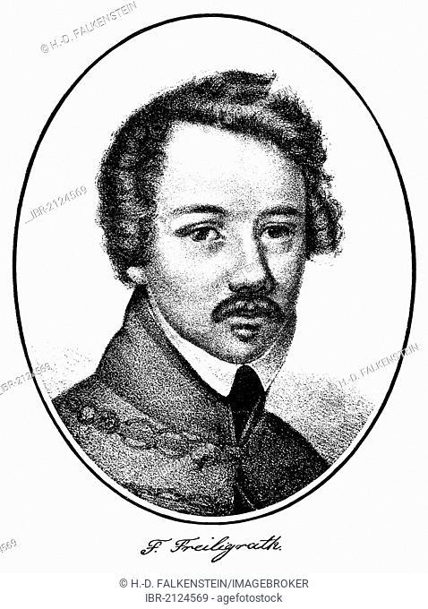 Historical print, portrait of Hermann Ferdinand Freiligrath, 1810 - 1876, a German lyricist, poet and translator, from Bildatlas zur Geschichte der Deutschen...