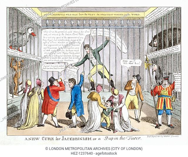 Sir Francis Burdett's imprisonment in the Tower of London, 1810. Interior view of the Tower of London, with Sir Francis Burdett behind bars clutching a copy of...