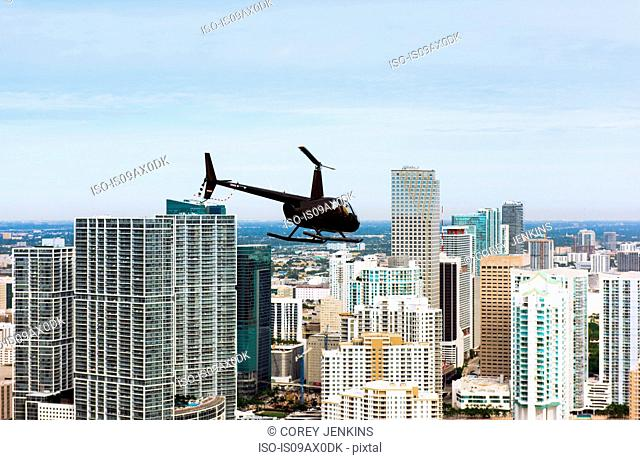 Helicopter and skyscrapers, Brickell, Downtown Miami, Florida, USA