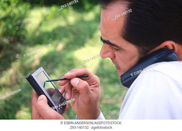 Man using PDA