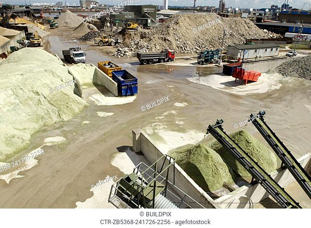 The yard at Day Aggregates, a construction materials and recycling plant, Greenwich, South-East London, UK