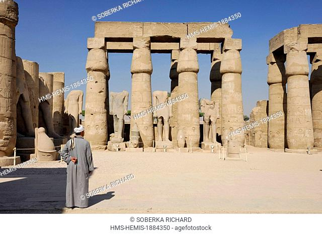 Egypt, Upper Egypt, Luxor, temple listed as a World Heritage by UNESCO, courtyard of Ramses II, royal colossi without heads