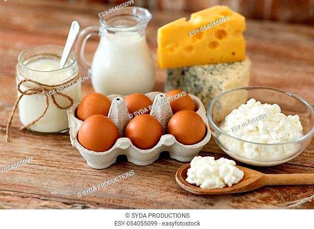cottage cheese, milk, yogurt and chicken eggs