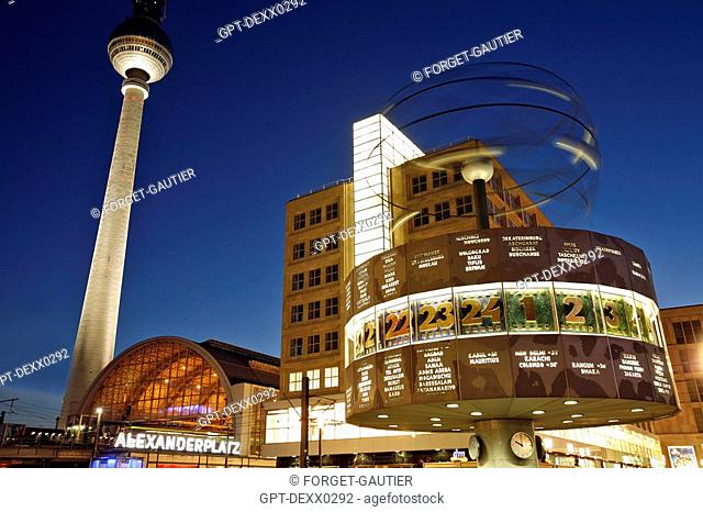 ALEXANDERPLATZ, TELEVISION TOWER, FERNSEHTURM AND URANIA WORLDTIME CLOCK, WELTZEITUHR CONCEIVED IN 1969 BY ERICH JOHN, GIVES THE TIME ZONES OF THE MAIN CITIES...