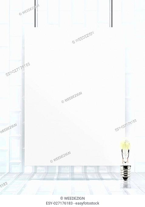 Hanging paper poster frame at ceramic tiles wall and floor,Mock up for add your content,business presentation template