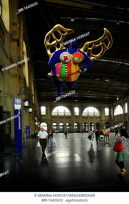 Angel, piece of art by Niki de Saint Phalle, in the main station of Zurich, Switzerland, Europe