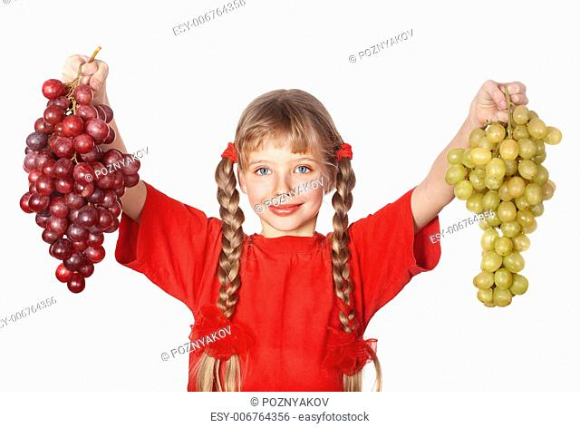 Little girl takes bunch of grape. Isolated
